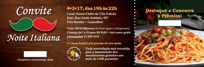 Portfólio Designer Gráfico e Web - Convite para Jantar Beneficente, Noite Italiana, para as Casas André Luiz