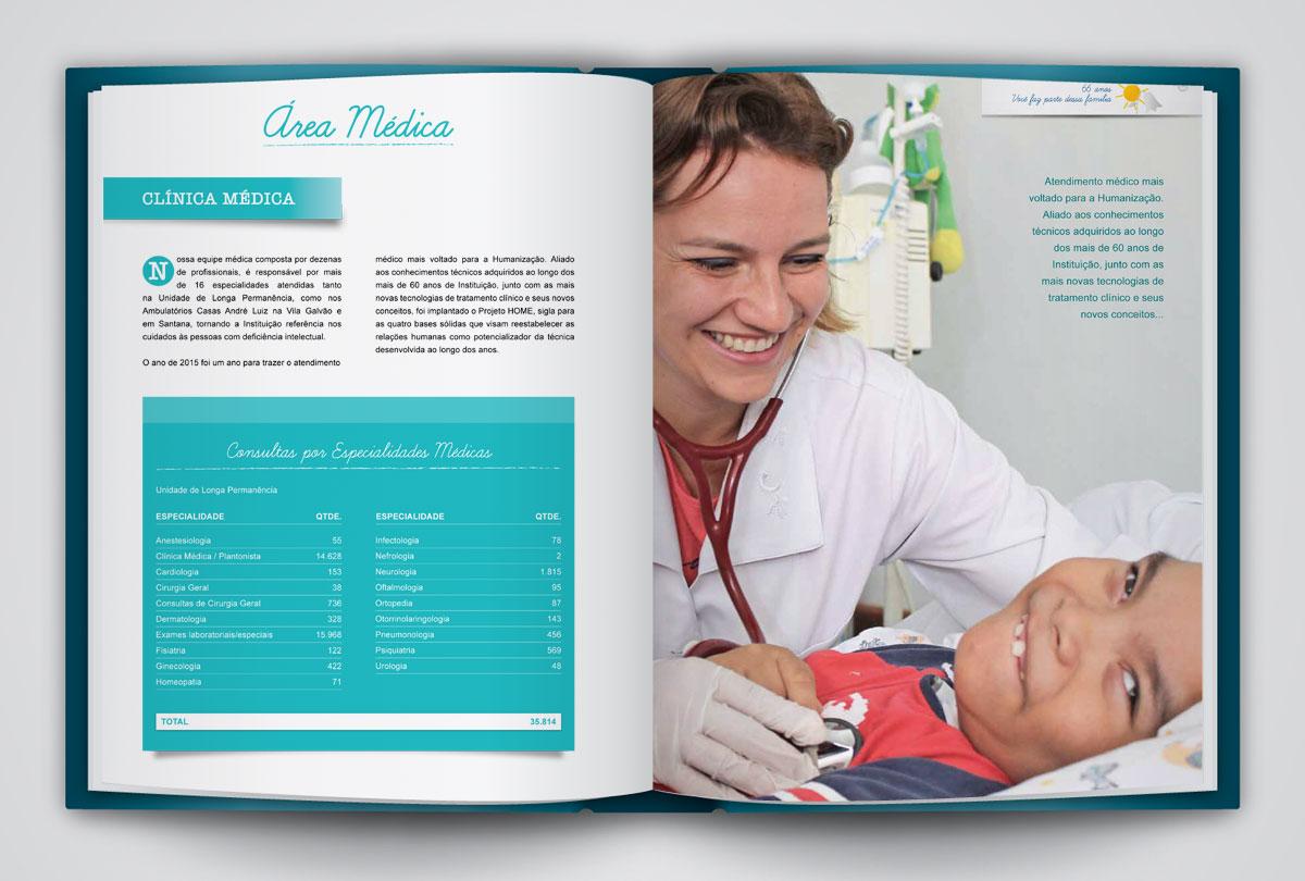Portfólio Designer Gráfico e Web - Anuário, Relatório de Atividades Casas André Luiz