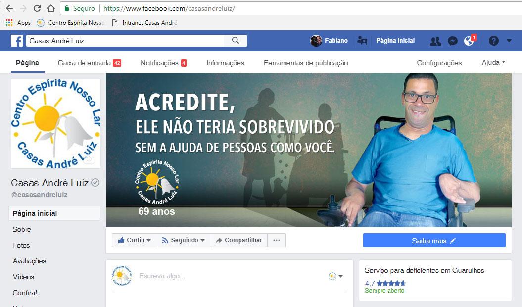 Campanha Institucional Casas André Luiz - 69 anos - Capa da Página no Facebook