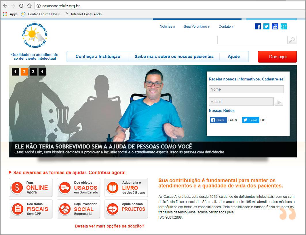 Campanha Institucional Casas André Luiz - 69 anos - Banner Site Institucional