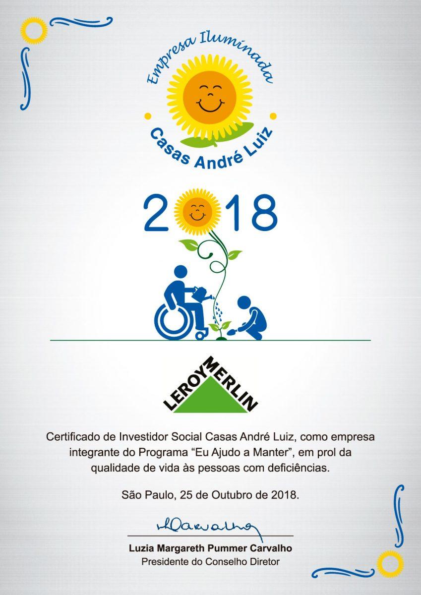 Placas em Aço Escovado e Certificado - Evento de Certificação das Empresas Iluminadas Casas André Luiz 2018