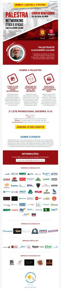 Email Marketing - Evento de Certificação das Empresas Iluminadas Casas André Luiz 2018