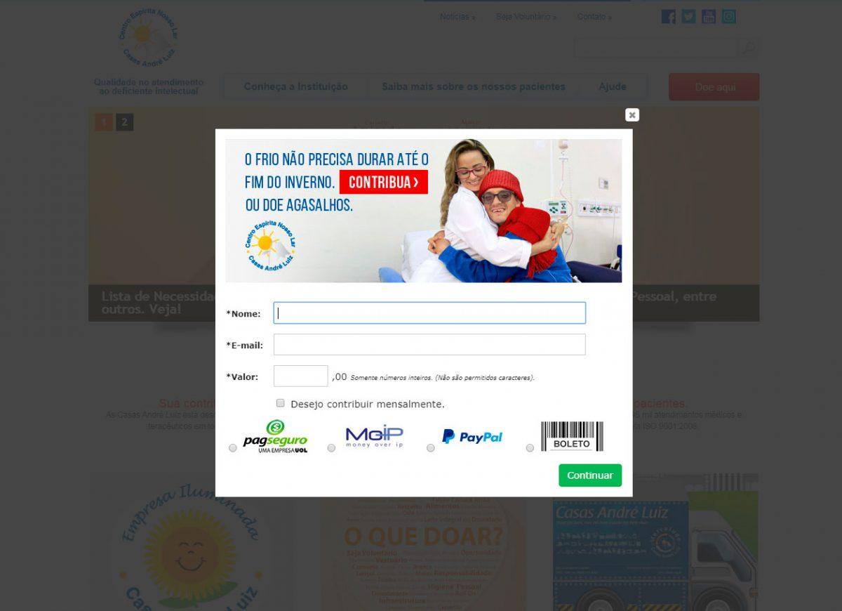 Pop up de Doações Campanha de Inverno 2018 - Casas André Luiz