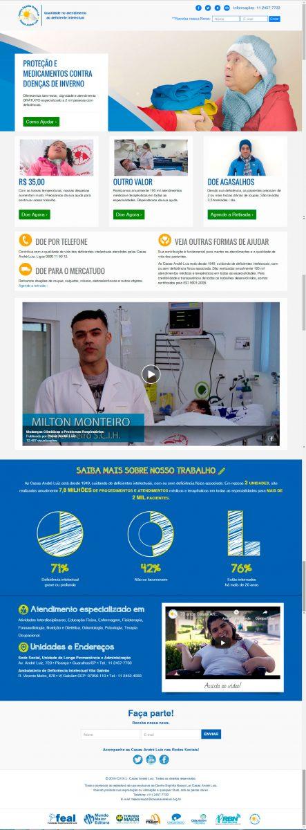 Página de Doações - Site - Campanha de Inverno 2018 - Casas André Luiz