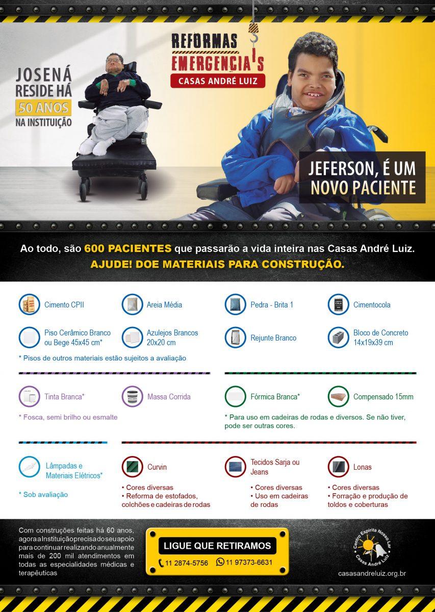 Cartaz - Campanha de Divulgação de Necessidades de Materiais para Construção para a Casas André Luiz