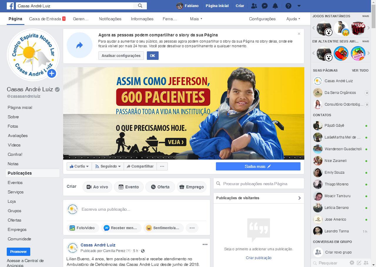 Capa do Facebook - Campanha de Materiais para Construção para a Casas André Luiz
