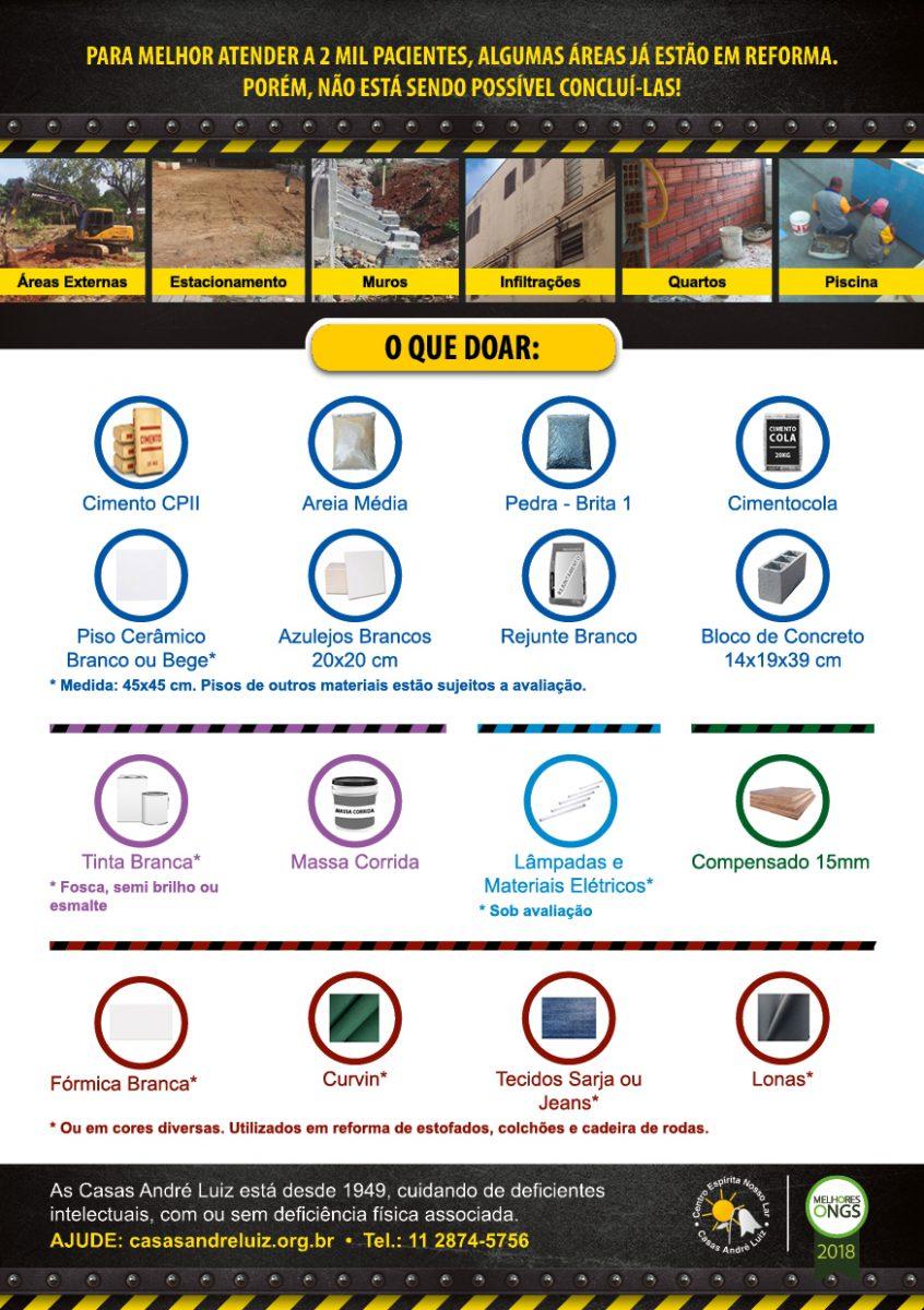 Flyer Impresso - Campanha de Divulgação de Necessidades de Materiais para Construção para a Casas André Luiz