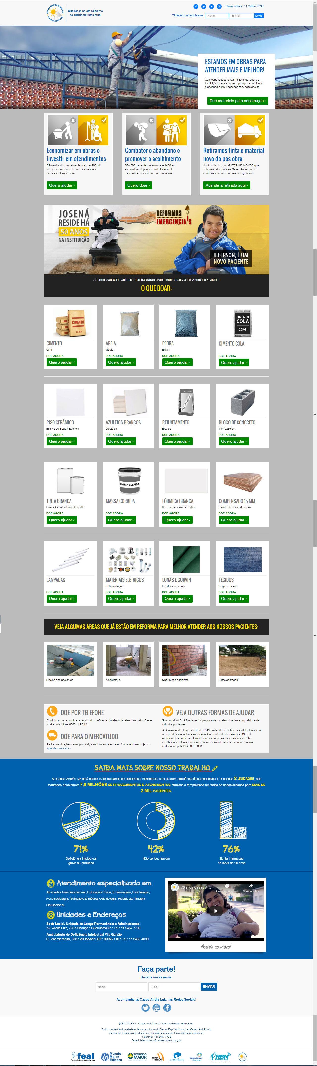 Página de Doações - Campanha de Divulgação de Necessidades de Materiais para Construção para a Casas André Luiz