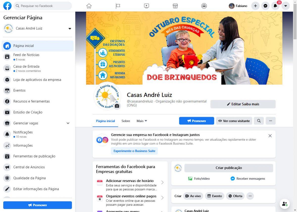 Capa Facebook - Campanha de Doação de Brinquedos para a Casas André Luiz - Portfólio