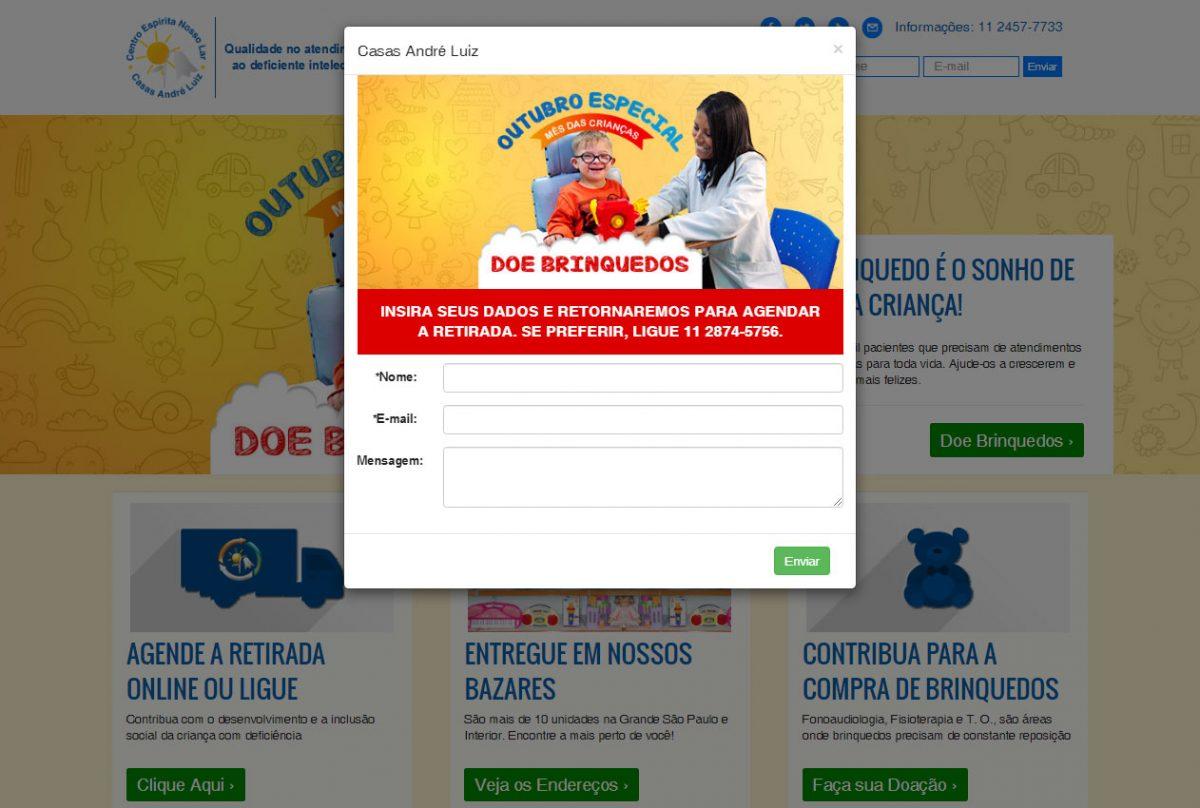 Criação de Sites - Página de Doações - Casas André Luiz - Portfólio