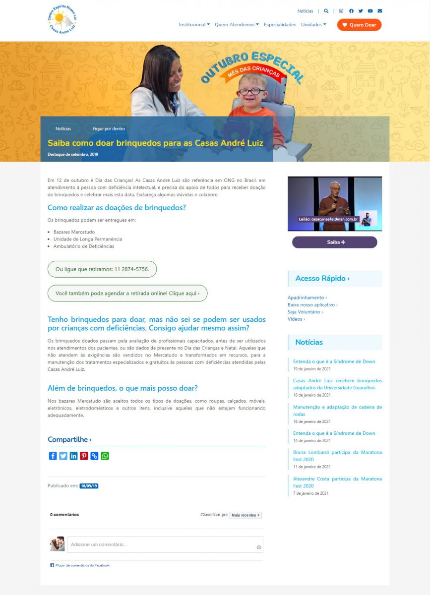 Página de Doações - Campanha de Doação de Brinquedos para a Casas André Luiz - Portfólio